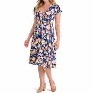 Modcloth Floral Tie Back Midi Dress